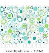 Vector Clip Art of Retro Seamless Funky Background of Blue and Green Circles on White by BNP Design Studio