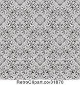 Vector Clip Art of Retro Seamless Grayscale Victorian Floral Pattern Background by AtStockIllustration
