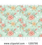 Vector Clip Art of Retro Seamless Green Rose Background Pattern by BNP Design Studio