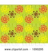 Vector Clip Art of Retro Seamless Green Yellow Brown and Orange Blossom Background by Cherie Reve