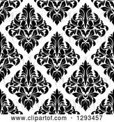 Vector Clip Art of Retro Seamless Pattern Background of Black Diamond Shaped Damask on White by Vector Tradition SM