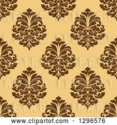 Vector Clip Art of Retro Seamless Pattern Background of Brown Damask on Orange by Vector Tradition SM
