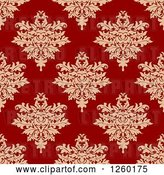 Vector Clip Art of Retro Seamless Pattern Background of Damask Floral by Vector Tradition SM