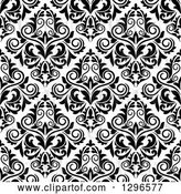 Vector Clip Art of Retro Seamless Pattern Background of Damask in Black on White 2 by Vector Tradition SM