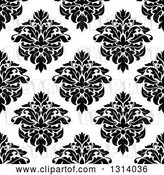 Vector Clip Art of Retro Seamless Pattern Background of Damask in Black on White 3 by Vector Tradition SM