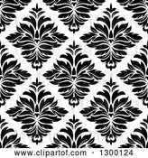 Vector Clip Art of Retro Seamless Pattern Background of Damask in Black on White 4 by Vector Tradition SM