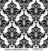 Vector Clip Art of Retro Seamless Pattern Background of Damask in Black on White 5 by Vector Tradition SM