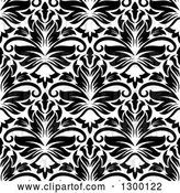 Vector Clip Art of Retro Seamless Pattern Background of Damask in Black on White 6 by Vector Tradition SM