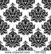 Vector Clip Art of Retro Seamless Pattern Background of Damask in Black on White by Vector Tradition SM