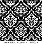 Vector Clip Art of Retro Seamless Pattern Background of Damask in White over Black by Vector Tradition SM
