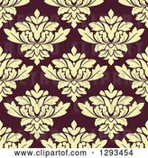 Vector Clip Art of Retro Seamless Pattern Background of Pastel Yellow Damask on Brown by Vector Tradition SM