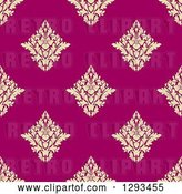 Vector Clip Art of Retro Seamless Pattern Background of Pastel Yellow Damask on Pink by Vector Tradition SM