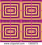 Vector Clip Art of Retro Seamless Pattern Background of Pink Purple and Yellow Geometric by Cherie Reve