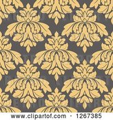 Vector Clip Art of Retro Seamless Pattern Background of Tan Floral Damask on Taupe by Vector Tradition SM