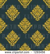 Vector Clip Art of Retro Seamless Pattern Background of Yellow Damask on Dark Blue by Vector Tradition SM