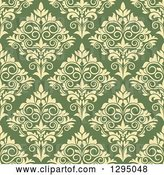 Vector Clip Art of Retro Seamless Pattern Background of Yellow Damask on Green by Vector Tradition SM