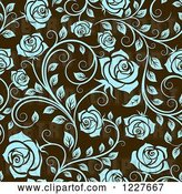 Vector Clip Art of Retro Seamless Pattern of Blue Roses on Brown by Vector Tradition SM