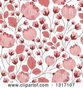 Vector Clip Art of Retro Seamless Pink Floral Background Pattern by Vector Tradition SM