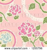 Vector Clip Art of Retro Seamless Pink Rose Background Pattern by BNP Design Studio