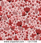 Vector Clip Art of Retro Seamless Red Floral Background Pattern by Vector Tradition SM