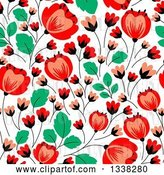 Vector Clip Art of Retro Seamless Red Poppy Flowers and Green Leaves Floral Background Pattern by Vector Tradition SM