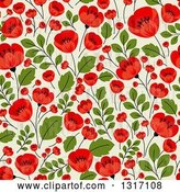 Vector Clip Art of Retro Seamless Red Poppy Flowers on Green Floral Background Pattern by Vector Tradition SM