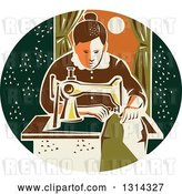 Vector Clip Art of Retro Seamstress Lady Sewing with a Machine by a Window in a Dark Green Oval by Patrimonio