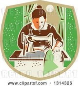 Vector Clip Art of Retro Seamstress Lady Sewing with a Machine by a Window in a Tan and Green Shield by Patrimonio