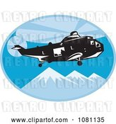 Vector Clip Art of Retro Search and Rescue Helicopter over Mountains by Patrimonio