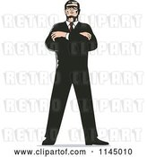Vector Clip Art of Retro Secret Agent Standing with Folded Arms by Patrimonio