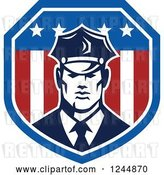 Vector Clip Art of Retro Security Guard in an American Flag Shield by Patrimonio