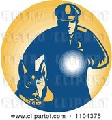 Vector Clip Art of Retro Security Guard with a Dog and Flashlight over Orange by Patrimonio