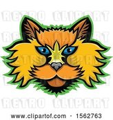 Vector Clip Art of Retro Selkirk Rex Cat Mascot Head Outlined in Green by Patrimonio