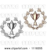 Vector Clip Art of Retro Sepia and Grayscale Wreaths and Trophy Cups 2 by Vector Tradition SM