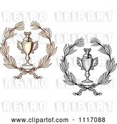 Vector Clip Art of Retro Sepia and Grayscale Wreaths and Trophy Cups by Vector Tradition SM