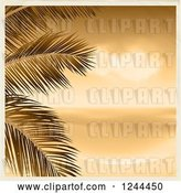 Vector Clip Art of Retro Sepia Beach with Palm Branches and a Border by Elaineitalia