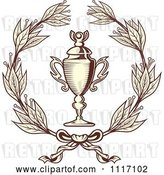 Vector Clip Art of Retro Sepia Wreath and Trophy Cup by Vector Tradition SM