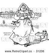 Vector Clip Art of Retro Servant Woman Carrying Ingredient Jars by Prawny Vintage