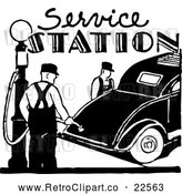 Vector Clip Art of Retro Service Station with a Gas Pump and Car by BestVector