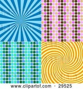 Vector Clip Art of Retro Set of Blue, Pink, Brown, Green and Orange Backgrounds of Bursts, Patterns and Swirls by KJ Pargeter