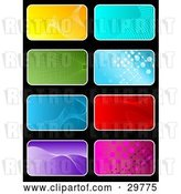Vector Clip Art of Retro Set of Eight Yellow, Blue, Green, Red, Purple and Pink Backgrounds on Black by KJ Pargeter