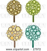 Vector Clip Art of Retro Set of Four Styled Trees Made of Brown, Yellow, Orange, Green and Blue Circles by KJ Pargeter