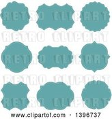 Vector Clip Art of Retro Set of Turquoise Labels by KJ Pargeter