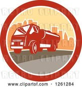 Vector Clip Art of Retro Sewage Truck in a City Circle by Patrimonio