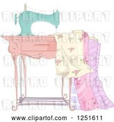 Vector Clip Art of Retro Sewing Machine with Fabric by BNP Design Studio