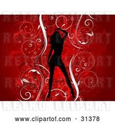 Vector Clip Art of Retro Sexy Black Silhouetted Lady over a Floral Grunge Background of Vines on Red by KJ Pargeter