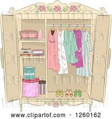 Vector Clip Art of Retro Shabby Chic Armoire with Ladies Clothing by BNP Design Studio