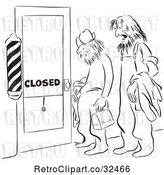 Vector Clip Art of Retro Shaggy Men at a Closed Barber Shop Door by Picsburg