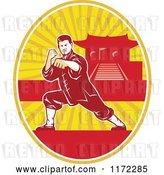 Vector Clip Art of Retro Shaolin Kung Fu Martial Artist in a Fighting Stance in an Oval with a Pagoda by Patrimonio