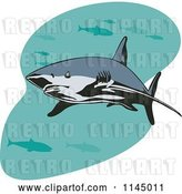 Vector Clip Art of Retro Shark Swimming with Fish 1 by Patrimonio
